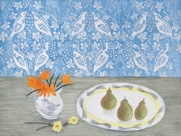 Pears and wallpaper