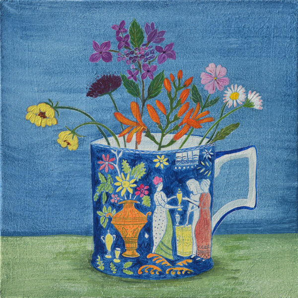 Antique cup and late summer flowers