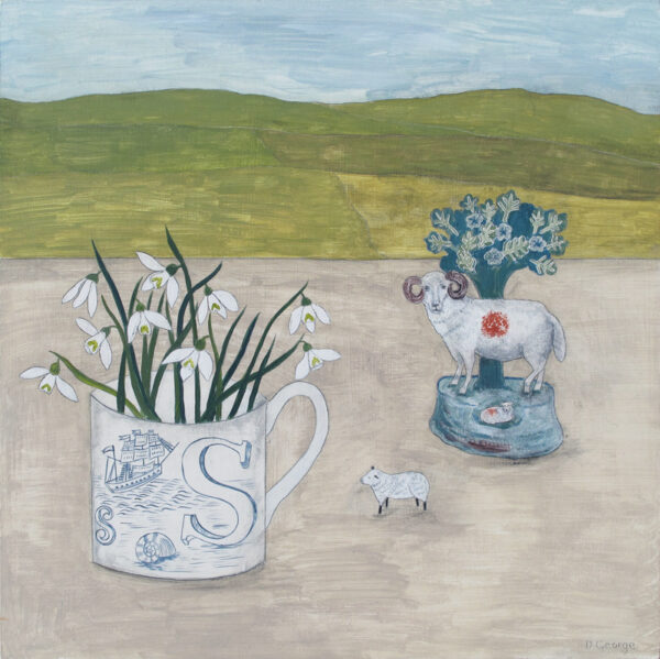 Staffordshire sheep and Snowdrops